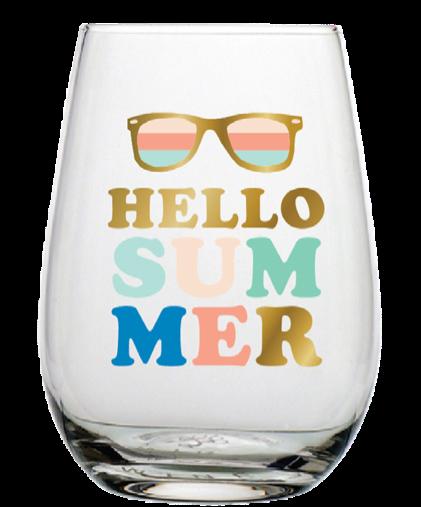 Hello Summer Stemless Wine Glass