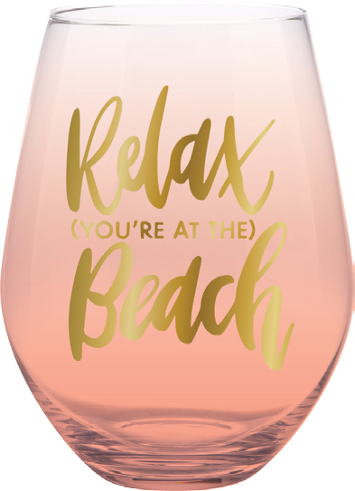 Relax You're at the Beach Stemless Wine