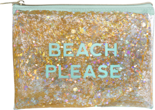 Beach Please Glitter Cosmetic Bag