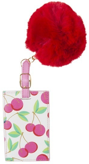 Cherry Pom Pom Luggage Tag