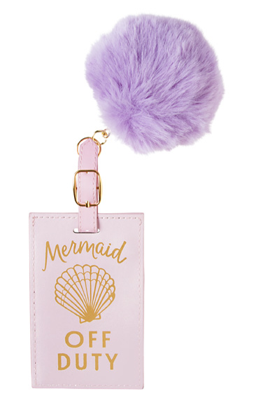 Mermaid off Duty Pom Luggage Tag
