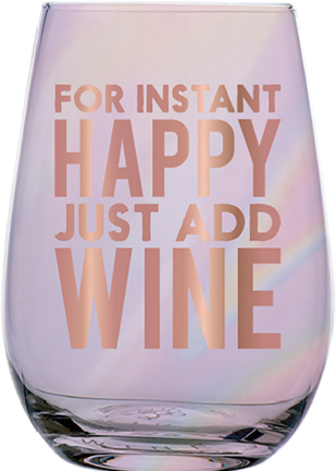 Instant Happy Stemless Wine Glass