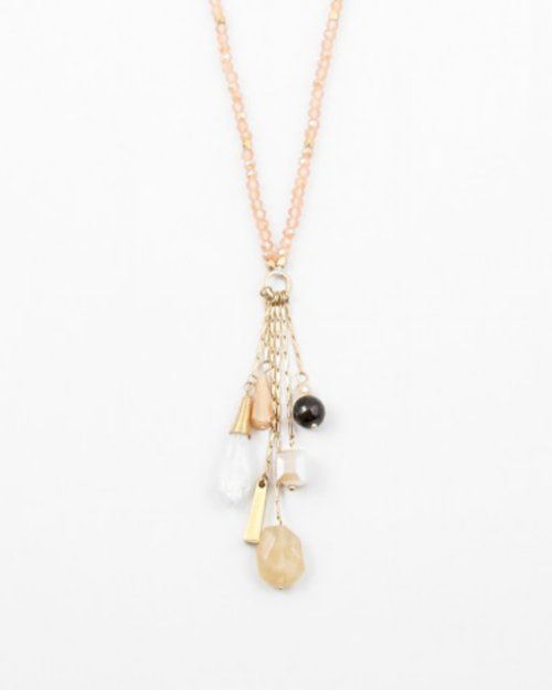 Peach Cluster Boho Long Necklace