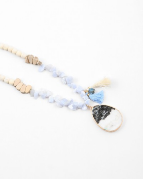 Wood Stone Tassel Beaded Long Necklace