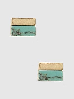 Mini Rectangle Turquoise Stud Gold
