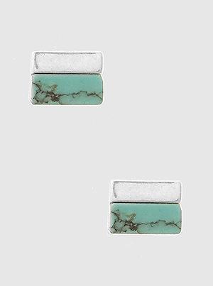 Mini Rectangle Turquoise Stud Silver