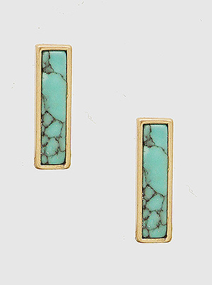 Rectangle Turquoise Stud Earrings Gold