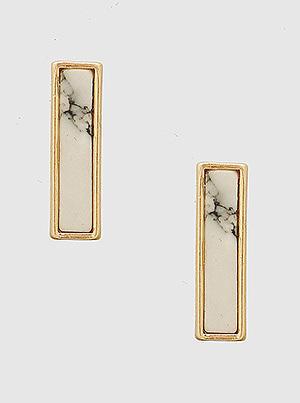 Natural Stones White Rectangle Stud Earrings Gold