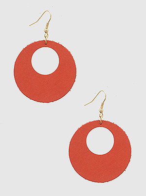 Round Hole Leatherette Drop Earrings Coral