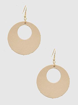 Round Hole Leatherette Drop Earrings Cream