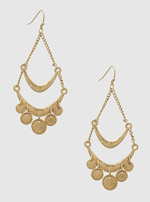 Round Drop Hammered Drop Dangle Gold