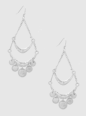 Round Drop Hammered Drop Dangle Silver