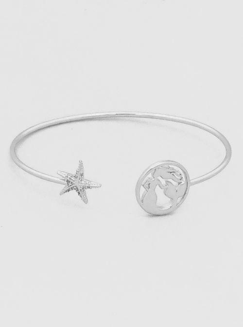 Starfish Mermaid Silver Cuff