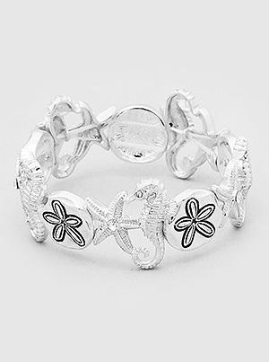 Seahorse Sand Dollar Silver Stretch Bracelet