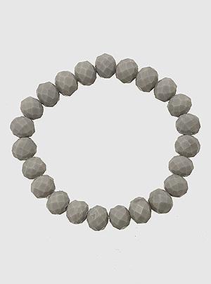 Faceted Grey Bead Stretch Bracelet