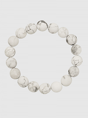White Marble Stone Stretch Bracelet