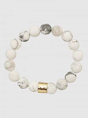 Matte Natural Stone w/ Hammered Bead Stretch Bracelet