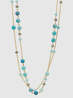Aqua Blue Natural Stone Wrap Around Long Necklace