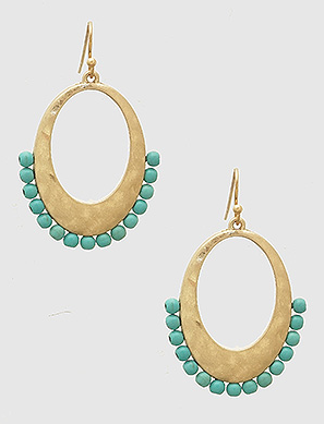 Hammered Turquoise Beads Drop Dangle Gold