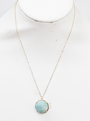 Mint Natural Stone Round Necklace