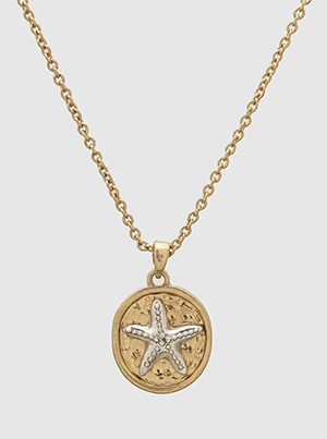 Sea Life Starfish Gold Pendant Necklace
