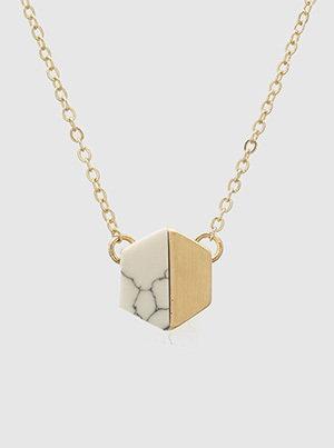 Hexagon Natural Stone Necklace