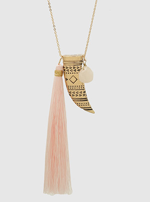 Thread Tassel, Aztec Horn, Tusk, Semi Priecious Long Necklace