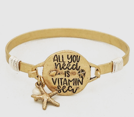 All You Need Is Vitamin Sea Engraved Wire Wrapped Bangle Bracelet
