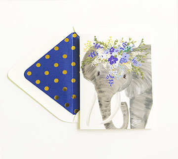 Talulah Elephant Floral Crown Card