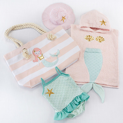 Mermaid 4-piece Beach Set with Canvas Tote