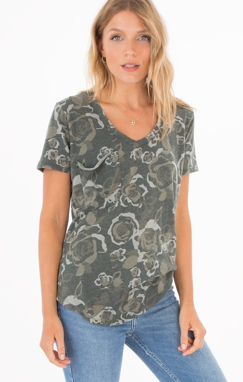 Rose Camo Pocket Tee Rosin