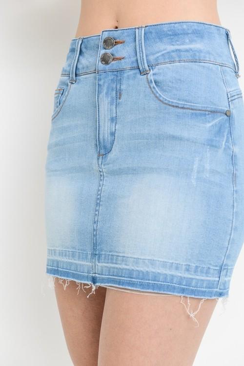 2 Button Shadow Hem Mini Skirt