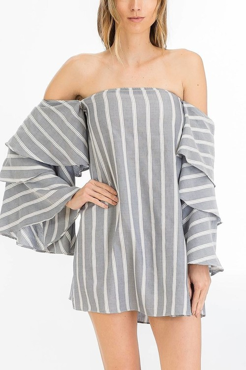 Striped Off Shoulder Dress with Ruffle Sleeves