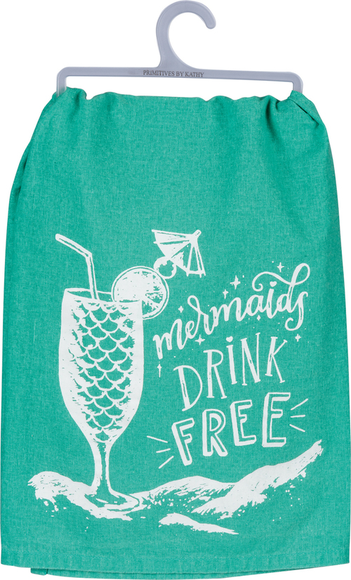 Mermaids Drink Free Turq Dish Towel