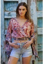 Floral Neck Plunge Crossover Top