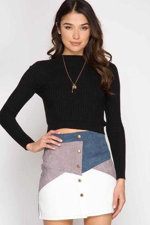 Corduroy Button Down Color Block Skirt