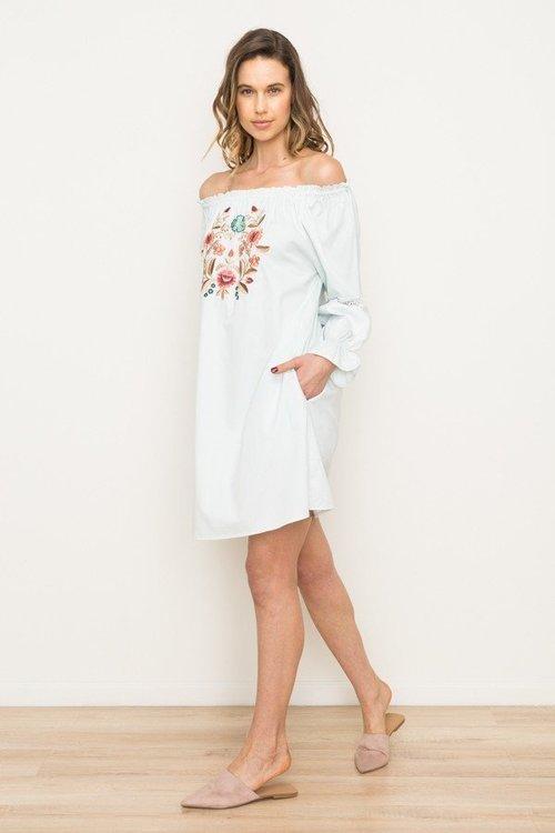 Embroidered Front Off Shoulder Dress