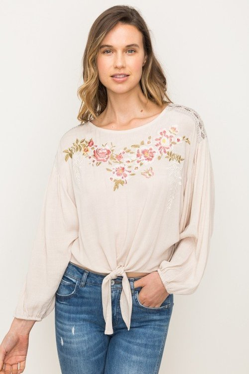 Embroidered Front Wide Dolman Bottom Tied Bouse