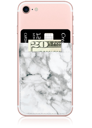 White Marble Faux Leather Phone Pocket