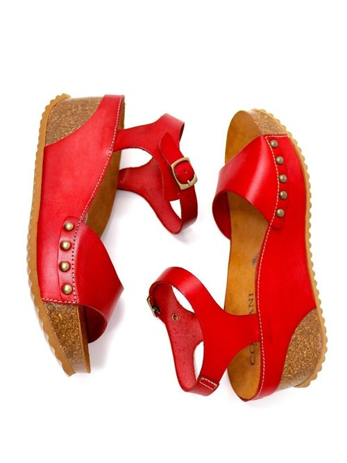 a36fbbe3163 Cordani Mod Mackie Wedge Sandal Red Leather By Cordani