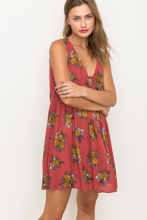 Tie Front Sleeveless Printed Dress