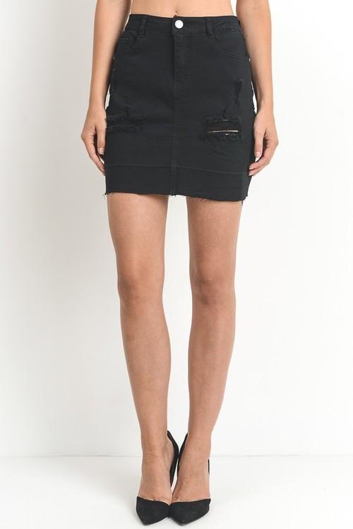 Distressed Denim Skirt with Shadow Hemline