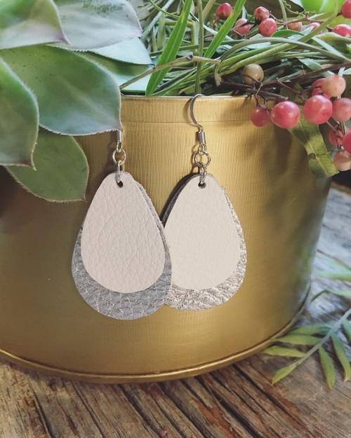 Jillian Made White Silver Double Earrings