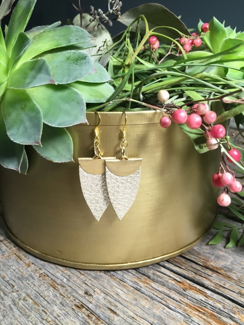 Jillian Made Champagne Spade Earrings