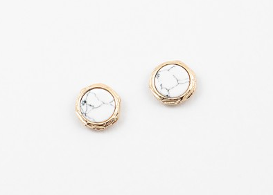 Small White Disk Stud