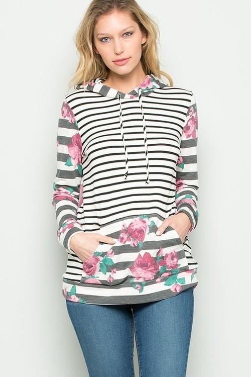 Floral & Stripe Hoodie