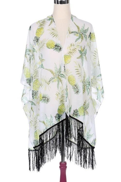 White Pineapple Print Kimono