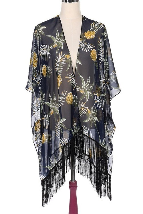 Navy Pineapple Print Kimono
