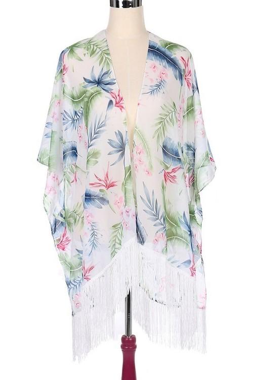 White Tropical Print Kimono