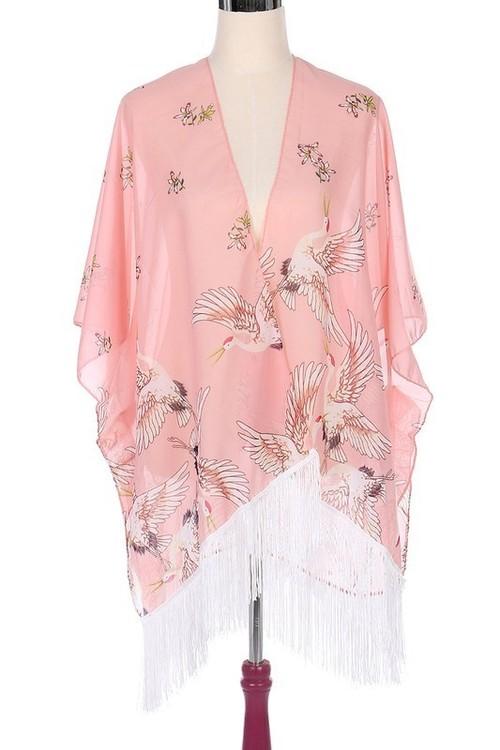 Pink Crane Print Kimono